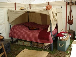 WG bed and tent reenactors